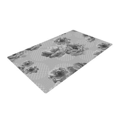Pellerina Design Lace Peony in Gray Floral Grey Area Rug