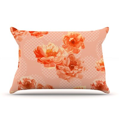 Pellerina Design Lace Peony Floral Pillow Case Color: Orange