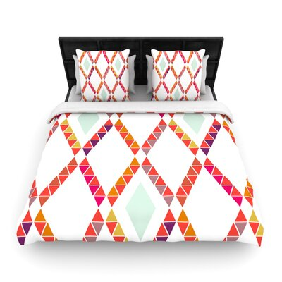 Pellerina Design Aztec Diamonds Orange Geometric Featherweight Duvet Cover Size: Queen, Fabric: Woven Polyester