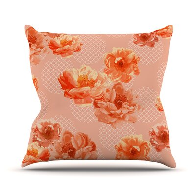 Lace Peony by Pellerina Design Floral Throw Pillow Size: 18 H x 18 W x 1 D, Color: Orange