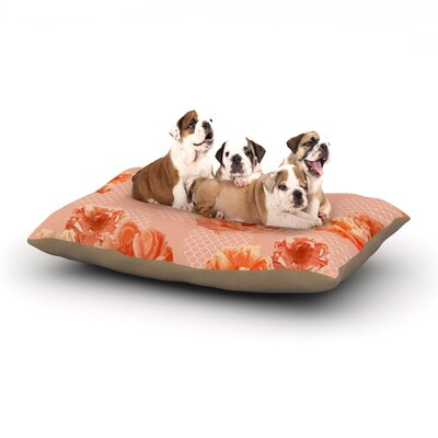 Pellerina Design Lace Peony Floral Dog Pillow with Fleece Cozy Top Color: Orange, Size: Large (50 W x 40 D x 8 H)