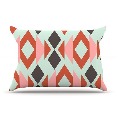 Coral Mint Triangle Weave by Pellerina Design Featherweight Pillow Sham Size: Queen, Fabric: Woven Polyester