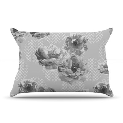 Pellerina Design Lace Peony Floral Pillow Case Color: Gray