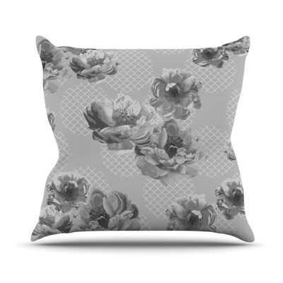 Lace Peony by Pellerina Design Floral Throw Pillow Size: 26 H x 26 W x 1 D, Color: Gray