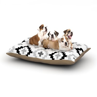 Pellerina Design Black White Moroccan Geometric Dog Pillow with Fleece Cozy Top Size: Small (40 W x 30 D x 8 H)