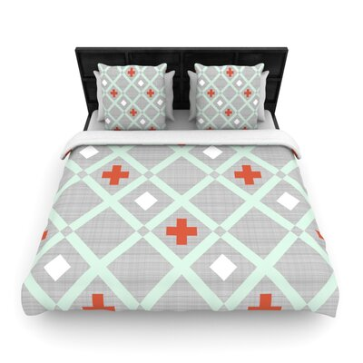 Mint Lattice Weave by Pellerina Design Featherweight Duvet Cover Size: Queen, Fabric: Woven Polyester