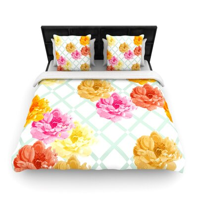 Pellerina Design Trellis Peonies Yellow Flowers Featherweight Duvet Cover Size: Queen, Fabric: Woven Polyester