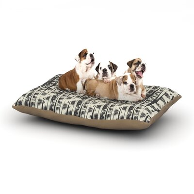 Amanda Lane Black Cream Abstract Dog Pillow with Fleece Cozy Top Size: Large (50 W x 40 D x 8 H)