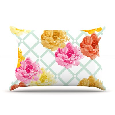 Pellerina Design Trellis Peonies Yellow Flowers Featherweight Sham Size: Queen, Fabric: Woven Polyester