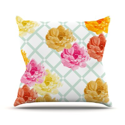 Trellis Peonies Flowers Outdoor Throw Pillow Size: 16 H x 16 W x 3 D