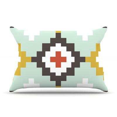 Gold Mint Moroccan Diamonds by Pellerina Design Featherweight Pillow Sham Size: Queen, Fabric: Woven Polyester