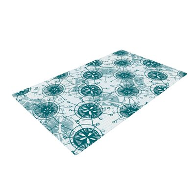 Anchobee Satellite White/Blue Area Rug Rug Size: 4 x 6