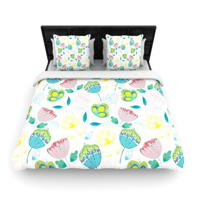 Indie Floral by Anneline Sophia Featherweight Duvet Cover Size: Full/Queen, Fabric: Woven Polyester
