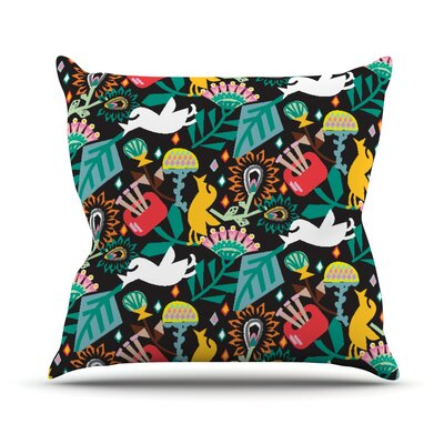Folk Fusion by Agnes Schugardt Rainbow Abstract Throw Pillow Size: 18 H x 18 W x 1 D