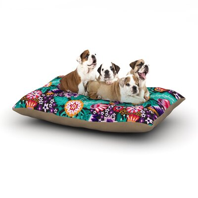 Agnes Schugardt Folk Meadow Dog Pillow with Fleece Cozy Top Size: Small (40 W x 30 D x 8 H)