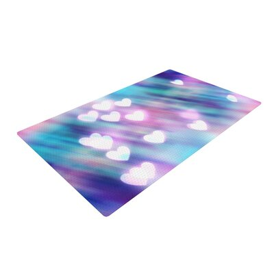 Beth Engel Your Love is Sweet Like Candy Heart Blue/Pink Area Rug Rug Size: 2 x 3
