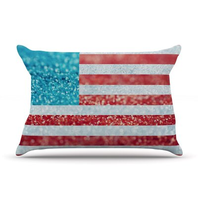 Beth Engel Red And Glitter Flag Pillow Case