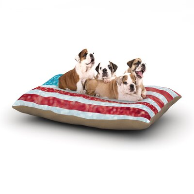 Beth Engel Red White and Glitter Flag Dog Pillow with Fleece Cozy Top Size: Large (50 W x 40 D x 8 H)