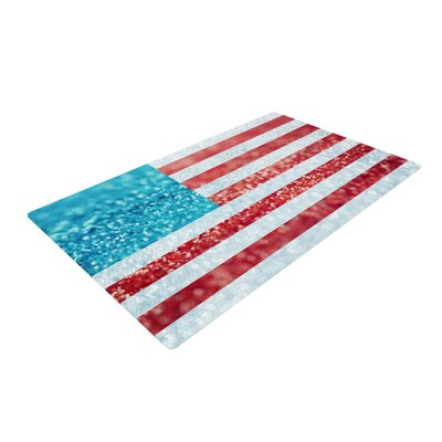 Beth Engel Red White and Glitter Flag White/Red Area Rug Rug Size: 2 x 3