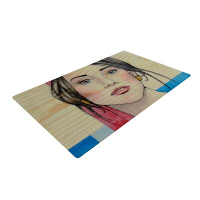 Brittany Guarino Face Cream/Red Area Rug Rug Size: 2 x 3