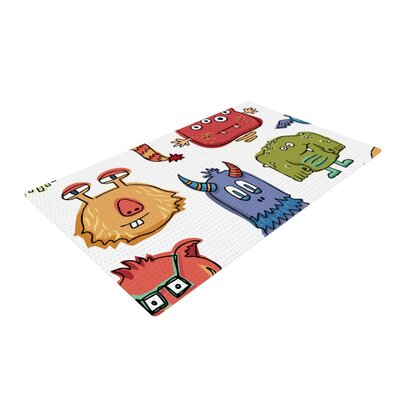 Brienne Jepkema Little Monsters White/Red Area Rug Rug Size: 2 x 3