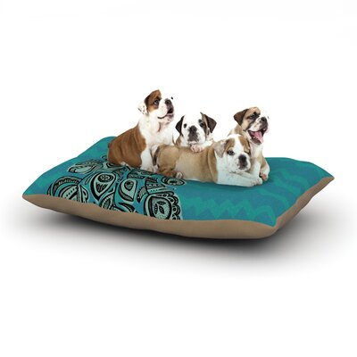 Brienne Jepkema Peacock Dog Pillow with Fleece Cozy Top Size: Large (50 W x 40 D x 8 H), Color: Teal/Green