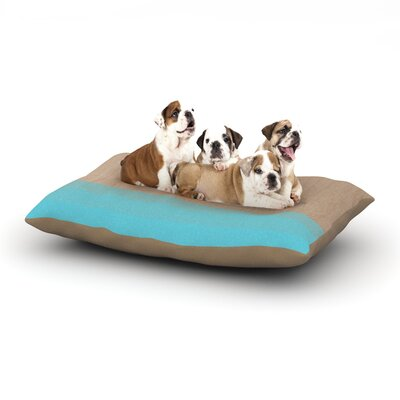Brittany Guarino Art Wood Dog Pillow with Fleece Cozy Top Size: Small (40 W x 30 D x 8 H), Color: Blue/Aqua