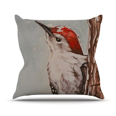 Downy Woodpecker by Brittany Guarino Throw Pillow Size: 18 H x 18 W x 1 D