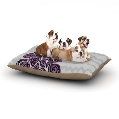 Brienne Jepkema Peacock Dog Pillow with Fleece Cozy Top Size: Large (50 W x 40 D x 8 H), Color: Purple/Lavender/Gray