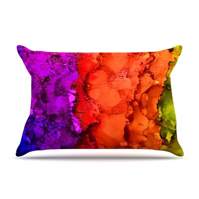 Rainbow Splatter by Claire Day Featherweight Pillow Sham Size: King, Fabric: Woven Polyester