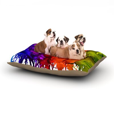 Claire Day Rainbow Splatter Dog Pillow with Fleece Cozy Top Size: Large (50 W x 40 D x 8 H)