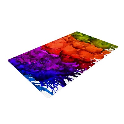 Claire Day Rainbow Splatter Orange/Green Area Rug