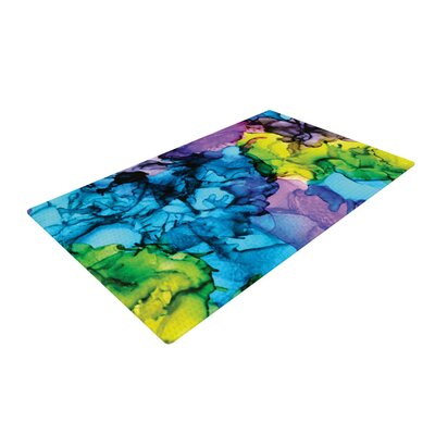 Claire Day Mermaids Paint Blue Area Rug Rug Size: 4 x 6