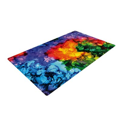 Claire Day Karma Rainbow Paint Blue/Orange Area Rug Rug Size: 2 x 3