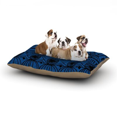 Catherine Holcombe Black and Blue Dog Pillow with Fleece Cozy Top Size: Small (40 W x 30 D x 8 H)