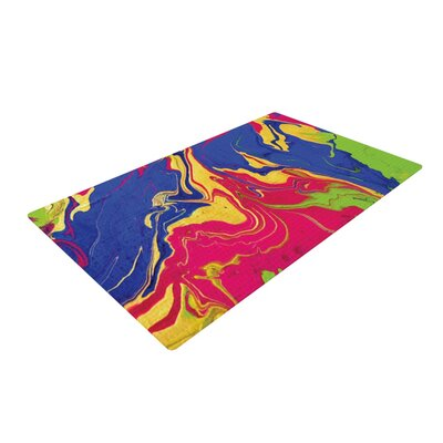 Claire Day Escaping Reality Green/Pink Area Rug Rug Size: 4 x 6
