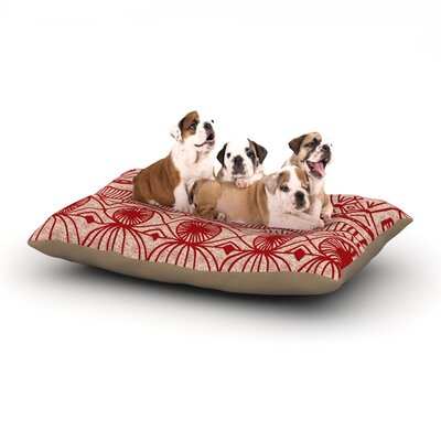 Catherine Holcombe Cranberry and Cream Dog Pillow with Fleece Cozy Top Size: Large (50 W x 40 D x 8 H)