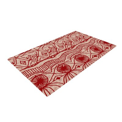 Catherine Holcombe Pattern Beige/Red Area Rug Rug Size: 4 x 6