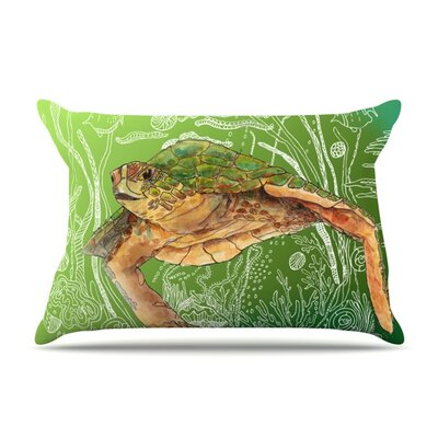 Shelley Green Sea by Catherine Holcombe Featherweight Pillow Sham Size: King, Fabric: Woven Polyester