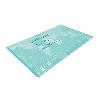 Catherine Holcombe Welcome to my World Quote Blue Area Rug Rug Size: 2 x 3