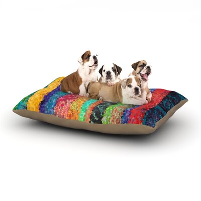 Catherine Holcombe Stained Glass Batik Mosaic Stripe Dog Pillow with Fleece Cozy Top Size: Small (40 W x 30 D x 8 H)