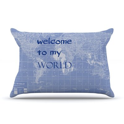 Welcome to my World by Catherine Holcombe Featherweight Pillow Sham Size: King, Color: Indigo, Fabric: Woven Polyester