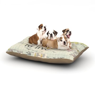Catherine Holcombe To Travel is to Live Color Map Dog Pillow with Fleece Cozy Top Size: Large (50 W x 40 D x 8 H)