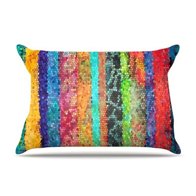 Stained Glass Batik Mosaic Stripe by Catherine Holcombe Featherweight Pillow Sham Size: King, Fabric: Woven Polyester
