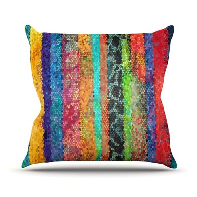 Stained Glass Batik Mosaic Stripe by Catherine Holcombe Throw Pillow Size: 26 H x 26 W x 1 D