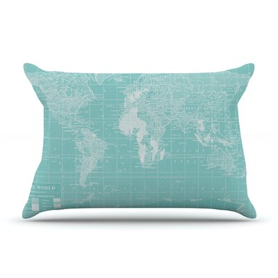 Welcome to my World by Catherine Holcombe Featherweight Pillow Sham Size: Queen, Color: Aqua, Fabric: Woven Polyester