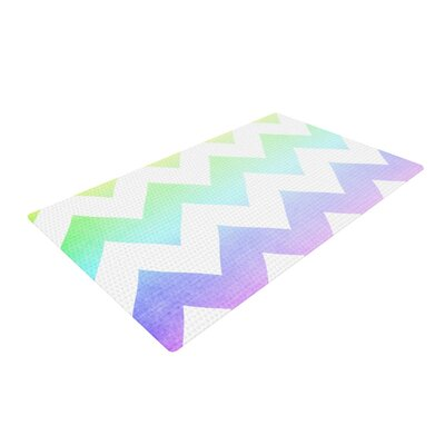 Catherine McDonald Watercolor Chevron Purple/White Area Rug Rug Size: 2 x 3