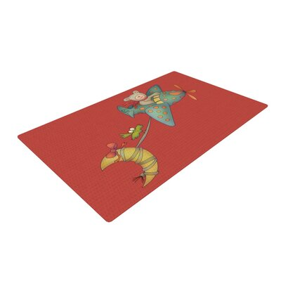 Carina Povarchik I Will Bring You The Moon Bear Red Area Rug Rug Size: 2 x 3