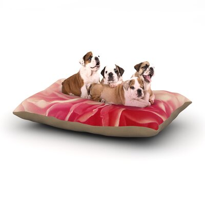 Cristina Mitchell Pink Petals Floral Rose Dog Pillow with Fleece Cozy Top Size: Small (40 W x 30 D x 8 H)