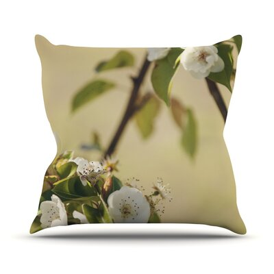 Pear Blossom by Catherine McDonald Throw Pillow Size: 18'' H x 18'' W x 1
